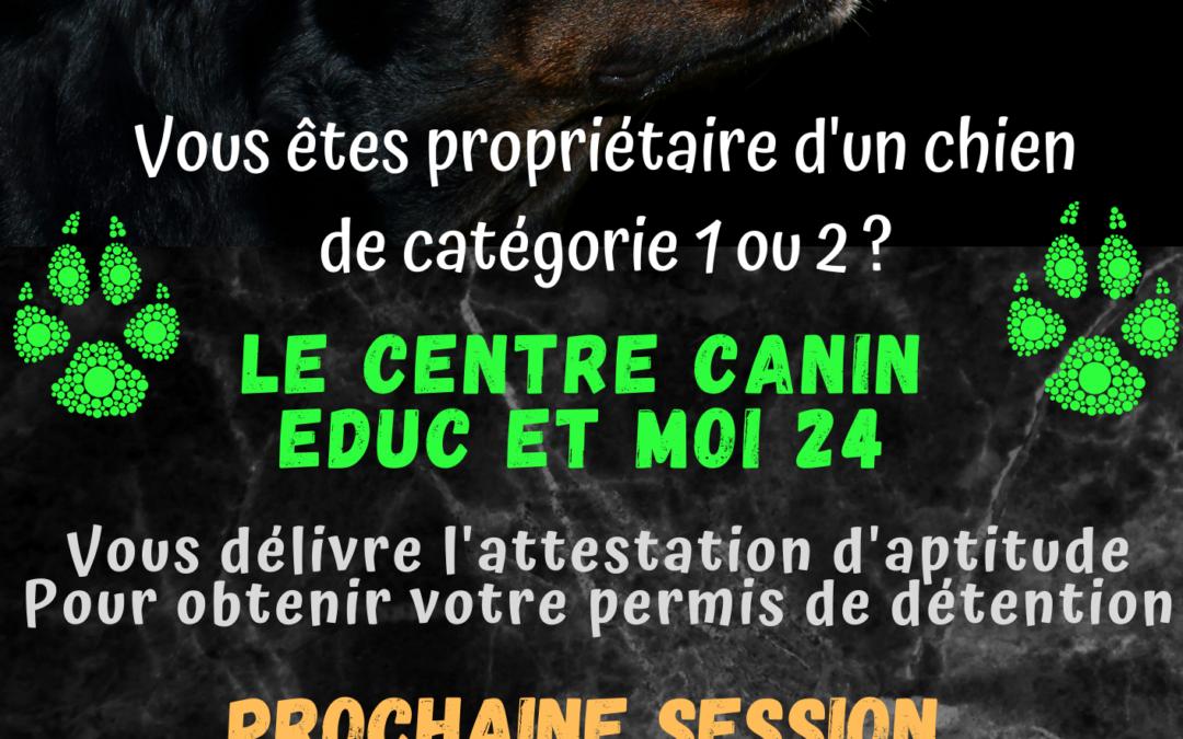 Formation d'aptitude à la détention de chien de catégorie